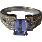 Princess Cut Tanzanite Diamond 14K White Gold Ring