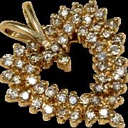 Amazing 14K Yellow Gold Diamond Heart Pendant