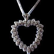 Stunning Italian 14K White Gold and Diamond Heart Pendant