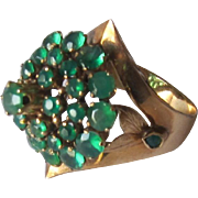 14K Yellow Gold Green Emerald Vintage Gypsy Cocktail Ring