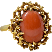 Vintage 18K Yellow Gold Italian Natural Red Coral Ring