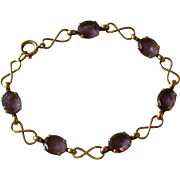 Antique European 8 K Yellow Gold Amethyst Bracelet