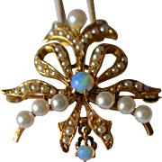 Antique 14K Yellow Gold Pearls and Blue Opal Brooch/Pendant