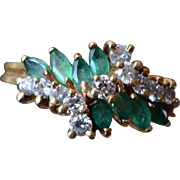Vintage 14 K Yellow Gold Green Marquise Emeralds & Diamonds Cocktail Ring