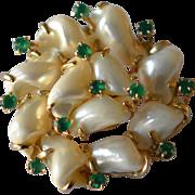 14K Yellow Gold Green Emeralds & Diamonds Round Brooch/Pin