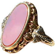 Antique 14K White & Yellow Gold & Red Oval Carnelian Ring