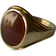 14K Yellow Gold & Red Oval Carnelian Men's Ring/Signet