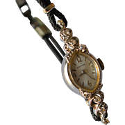 Art Deco 14K White Gold & Diamonds Croton Manual Wind Up Ladies Wristwatch