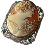 Antique 14K White Gold & Emeralds Large Carved Shell Cameo Brooch/Pin