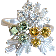 Fancy 14 K White Gold & Clear, Green, Yellow Baguette Diamonds Cocktail Ring