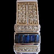 Vintage Diamond & Sapphires 14 K White Gold Geometric Pendant
