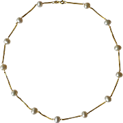 14K Yellow Gold & Oval Fresh Water White Pearls Tin Cup Necklace