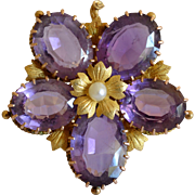 Antique 10K Yellow Gold, Amethyst & Pearl Flower Pendant/Brooch