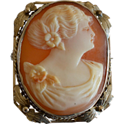 Vintage 14K White Gold Shell Cameo Brooch/Pendant