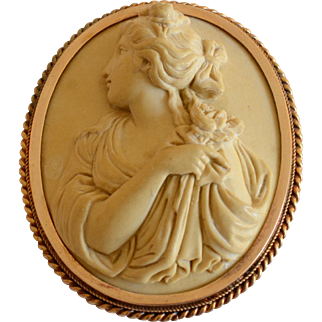 Vintage 4K Lava Cameo Brooch in High Relief