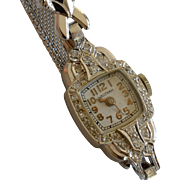 14K White Gold & Diamond Waltham Ladies Wind Up Wristwatch