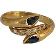 14K Yellow Gold Sapphires and Diamond Ring