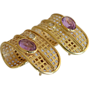 Large 18K Yellow Gold, Diamond & Amethyst Geometrical Lattice Hoop Earrings