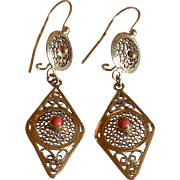 Stunning 14K Yellow Gold Coral & Filigree Drop Earrings