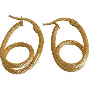 14K Yellow Gold Double Loop Hook Earrings