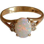 Vintage Oval Opal and Diamonds 14K Yellow Gold Ring