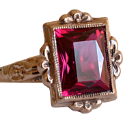 10K Yellow Gold & Synthetic Ruby Ring