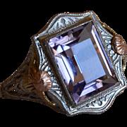 Art Deco 14K White & Yellow Gold Amethyst Filigree Ring