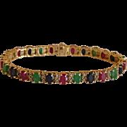 Mesmerizing Rubies, Sapphires, Emeralds & Diamonds 14K Yellow Gold Tennis Bracelet