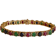 Mesmerizing Rubies, Sapphires, Emeralds & Diamonds 14K Yellow Gold Tennis Bracelet