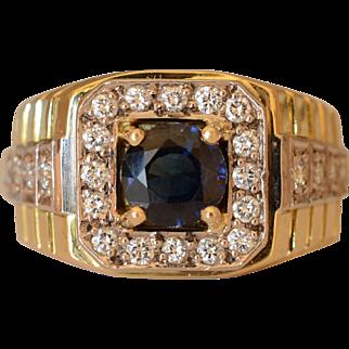 Luxurious 18K Yellow Gold Sapphire & Diamond Rolex Ring