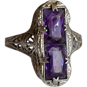Art Deco Amethyst 14K White Gold Filigree Ring
