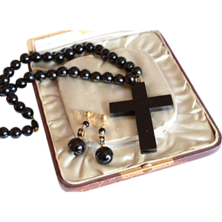 Victorian Large Mourning Jet Necklace with Cross Pendant and Earrings 14K Yellow Gold and Enamel