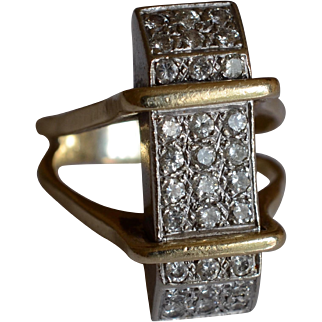 Dazzling Modernist Design 14K Yellow and White Gold Diamond Pave Ring