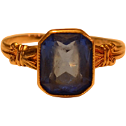 Vintage 10K Yellow Gold and Synthetic Emerald Cut Sapphire Ring