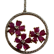 Vintage 14K Yellow Gold Diamond & Rubies Flower Pendant