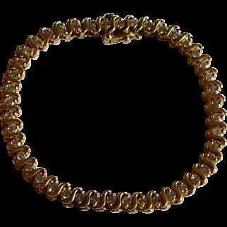 Fabulous 3.52 Carats Diamond 14K Yellow Gold Tennis Bracelet