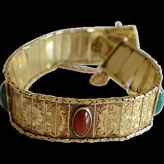 Antique European 14K Yellow Gold & Gem Stones Slide Link Bracelet