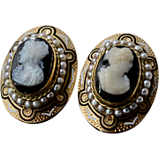Stunning Victorian Cameo Black & White Enamel Seed Pearls 14K Yellow Gold Pierced Earrings