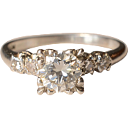 Stunning .75 Karat Single Stone Platinum Engagement Ring