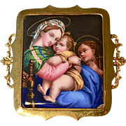 Vintage 14K Yellow Gold Miniature Enameled Painting of a Holy Family  Brooch /Pin