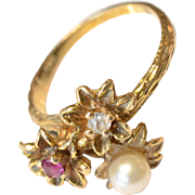 14K Yellow Gold Diamond Pearl & Ruby Flower Ring