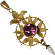 Antique Amethyst Pearl & 14K Yellow Gold Drop Pendant