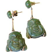 Vintage Imperial Natural Green Jade 18K Yellow Gold Hand Carved Chinese Buddha Earrings