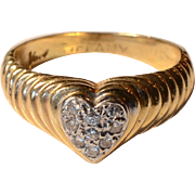 Vintage 14K Yellow Gold Pave Diamond Heart Ring