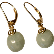 14 K yellow Gold Green Jade Pierced Earrings