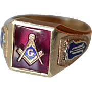 Vintage 10K Yellow Gold and Enamel Masonic Mens Signet/Ring