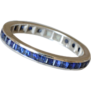 14K White Gold Sapphires Eternity Band/Ring