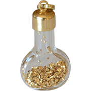 Vintage 14K Yellow Gold Dust Glass Bottle Charm/Pendant