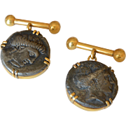 Antique 18K Yellow Gold Ancient Roman Coin Mens Cufflinks