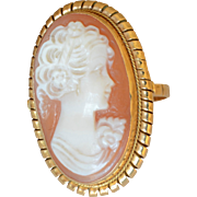 18K Italian Yellow Gold Shell Cameo Large Oval Ring
